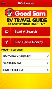 Good Sam Camping App Home Screen